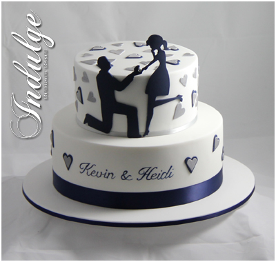 Silhouette Engagement Cake